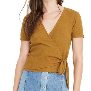 Madewell Texture & Thread Wrap Tie Top in Olive